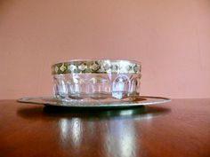 Culver Glass Valencia Salad Bowl, Arcoroc France, Green and Gold Filigree, Mid Century Serving