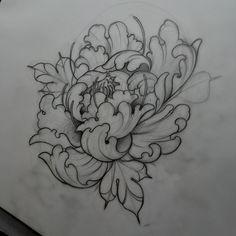 neildransfieldtattoo:  Early morning peony sketching