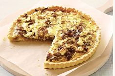 Crumbled goat's cheese is a decadent base for caramelised onion in this classic quiche.