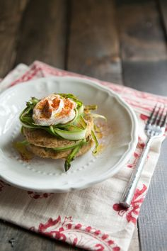 Chickpea cakes with shaved asparagus and yogurt...always looking for more things to do with chickpeas.