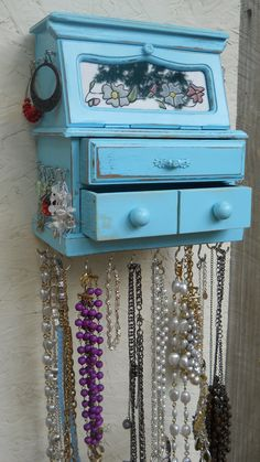 Hanging Jewelry Box/Home Decor/Wall Fixture/Upcycled Jewelry Box/Vintage Box/Jewelry Shelf.