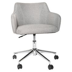 For consultant seating in consultation pod - Room Essentials Office Chair Upholstered Grey Linen