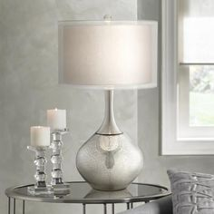 Swift Modern Table Lamp Mercury Glass Silver Sheer Twin Drum Shade for Living Room Family Bedroom Bedside Nightstand - Possini Euro Design Silver Table Lamps, Rustic Table Lamps, Table Lamps For Bedroom, Nightstand Lamp, Bedside Table Lamps, Silver Nightstand, Desk Lamp, Mercury Glass Lamp, Glass Lamps