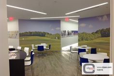 KPMG Cafeteria. Illinois.  Installer: The Huff Company, Inc. Materials: Acoustic 495D custom-printed fabric.