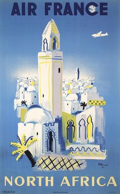 Original 1940s Air France Africa Travel Poster VIL - by PosterConnection Inc.