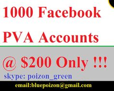 1000 Facebook PVA Accounts via Socialmediashop. Click on the image to see more!