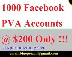 1000 Facebook PVA Accounts via Socialmediashop. Click on the image to see more!