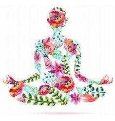 Yoga pose watercolor bright floral vector. Lotus pose. Mediation by Elmiko on VectorStock®
