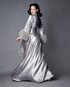 Image of Dita Von Teese Collection Marabou Celestial Silver Dressing Gown