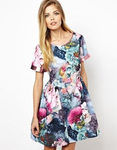 Lashes Of London Smock Dress In Floral Print