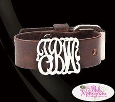 Monogrammed  Silver Slide On Leather Bracelet