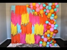 Colorful Streamer Backdrop DIY   How To - YouTube Streamer Backdrop, Diy Photo Backdrop, Party Streamers, Streamer Ideas, Rainbow Party Decorations, Balloon Decorations, Rainbow Parties, Balloon Ideas, Birthday Decorations