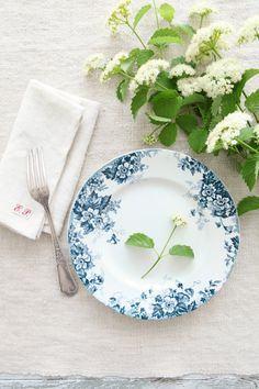 Vintage French Blue Ironstone Plates