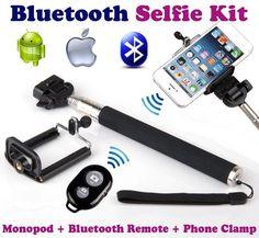 Bluetooth Selfie Kit Telecomando autoscatto + asta monopod Bastone Stick per Iphone Android Ios Samsung