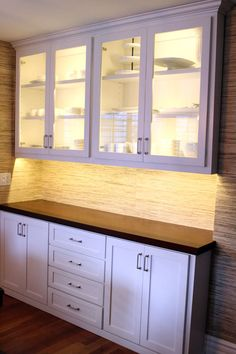 White Built In Cabinets Dining Room Used For Craft Supply Storage Underneath