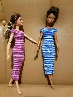 My first knit Barbie dress pattern – Lilandra Crochets Barbie Clothes Patterns, Crochet Barbie Clothes, Doll Clothes Barbie, Doll Dress Patterns, Clothing Patterns, Barbie Doll, Girl Dolls, Skirt Patterns, Doily Patterns