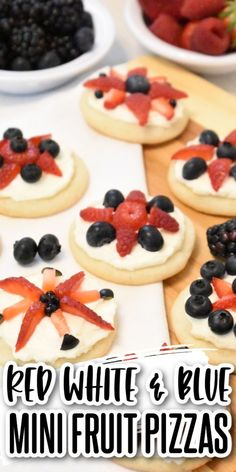 These red white & blue mini fruit pizzas are bursting with summer berry flavor! Sugar cookies topped with cream cheese icing & delicious berries! Perfect for the 4th, Memorial Day, or any picnic! Patriotic Desserts, 4th Of July Desserts, Easy Desserts, 8 Oz Cream Cheese, Cream Cheese Icing, Mini Fruit Pizzas, Family Meals, Family Recipes, Strawberry Blueberry