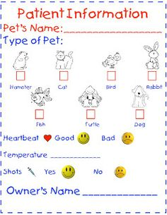vet chart for dramatic play area during community helper unit