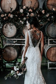 Real Wedding: Brittany Josh :: Edgy Cool Winery Wedding in Made With Lovea&bé bridal shop Wedding Goals, Boho Wedding, Wedding Bride, Wedding Day, Rocker Wedding, Tattoo Wedding Dress, Tattooed Wedding, Tattoo Bride, Most Beautiful Wedding Dresses