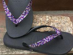 e5dfbcfb25a9 Purple Rainbow Crystal Flip Flops Custom w  Swarovski Jewel Havaianas flats  Cariris Wedge Shoe Multi Color Wedding Confetti Rhinestone shoes