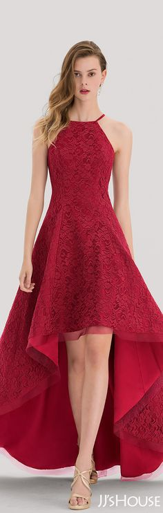 A-Line/Princess Square Neckline Asymmetrical Lace Prom Dress#JJsHouse #Prom dresses