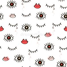Illustration about Seamless hand-drawn pattern of closed and open eyes, lips and hearts. Illustration of close, graphic, open - 107563572 Lips Illustration, Free Illustrations, Royalty Free Images, Create Yourself, Art Projects, Hello Kitty, How To Draw Hands, Hand Drawn, Eyes