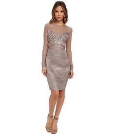 Calvin Klein Long Sleeve Illusion Top with Tucking Cocktail Dresses With  Sleeves, Petite Cocktail Dresses 308b5a2c93e