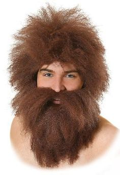 New mens cave man #caveman #brown wig and beard set fancy #dress costume accessor,  View more on the LINK: http://www.zeppy.io/product/gb/2/262627171165/