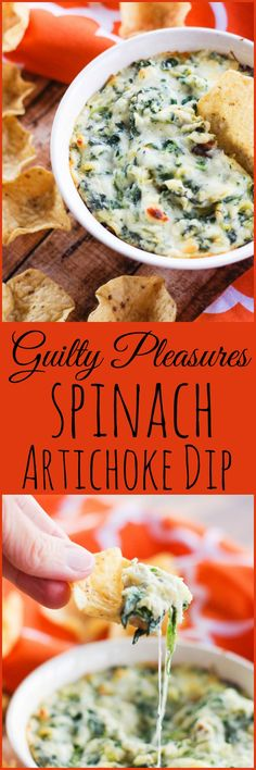 Guilty Pleasures Spinach Artichoke Dip | www.homeandplate.com | It's loaded with a blend of mozzarella, Parmesan and Muenster cheeses,tangy artichoke hearts and creamy spinach.