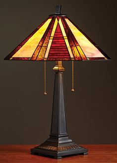 Mission Arrow Lamp, Large; The stained glass shades are crafted of real glass and hand foiled in the traditional Tiffany style. $269.00