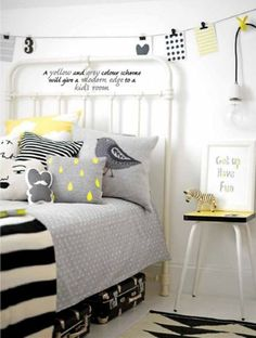 Quarto infantil cinza e amarelo: 12 ideias para se inspirar