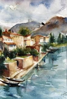Betto Lotti,  Lago di Como, 1940,  acquarello, cm 33x24