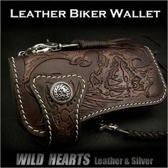 Genuine Leather Biker Wallet Dragon Carved Silver ConchoWILD HEARTS Leather&Silver  http://item.rakuten.co.jp/auc-wildhearts/lw2227/