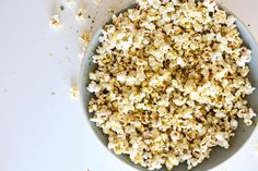 healthy cheesy herb popcorn recipe from Home With Her www.homewithher.com