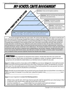 This assignment is fun and will get your students thinking critically about the Ancient Indian caste system brought by the Aryans. First, students read a brief history of the caste system. Then, they compare the school to the Ancient Indian Caste system by creating their own school pyramid of power.