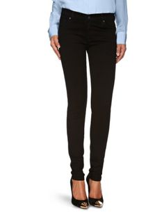9804663c41f4ac James Jeans Women's Twiggy Legging, Black Clean, Super slim jean legging  featuring silver-tone rivets and five-pocket styling Darted back pockets