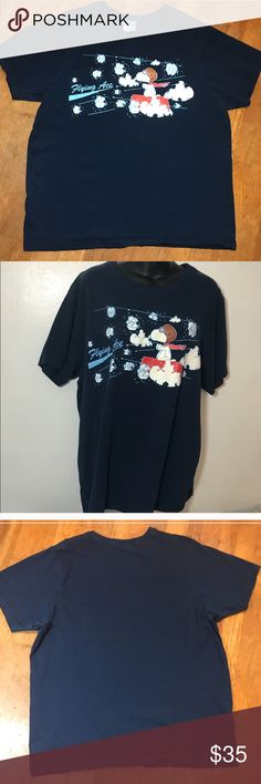 9e2e66a35ab2 VINTAGE Peanuts Flying Ace Navy T-Shirt XL VANS VINTAGE Peanuts Flying Ace  Navy T