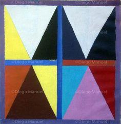 """""""Composición nº 7"""" , acrylic on canvas, 32 x 33 cm, 2013 By Diego Manuel"""