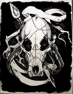 Ink Drawing Print Apocalypse Wolf Skull 11x14 inch by TrenchArt, $15.00