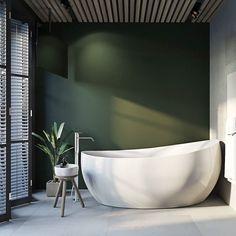 Hva med en fargerik kontrastvegg på badet? Det er spennende å leke litt med farger ikke minst gjør de så mye med følelsene & humøret vårt Vakre Aveo badekar fra Villeroy & Boch harmoniserer godt med de fleste stiler #rørkjøp
