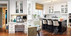 Kitchen office, cabinetry, holiday, millwork, colour, drapery,custom, stools, roman blind, glass cabinets,wood floors, styling, accessories, kitchen,office, ghost chair, Jennifer Brouwer design