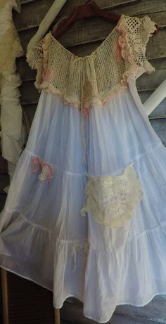 best images about Upcycled Paisley, Romantic Outfit, Altering Clothes, Linens And Lace, Cotton Dresses, Linen Dresses, Clothes Crafts, Textiles, Gypsy Style