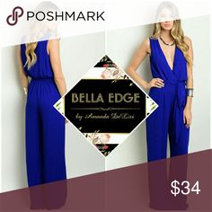 Royal blue plunging jumpsuit 100% POLYESTER. This royal blue sleeveless jumpsuit features a plunging neckline, wide legged pants and a self tie closure on waist. Full back coverage. Bella Edge Boutique  Pants Jumpsuits & Rompers