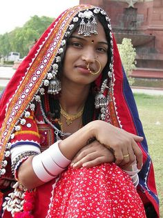 A Goaar Lady from Maharashtra in her traditional Banjara dress and ornaments