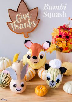 There isn't a more adorable kid-friendly centerpiece or activity than these Bambi Squash. They'll be fawning over them!