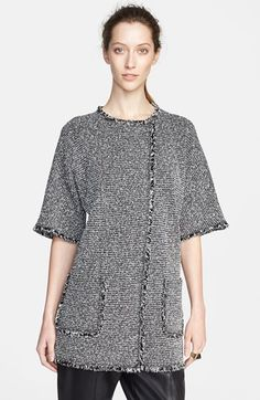 Free shipping and returns on St. John Collection Elbow Sleeve Eyelash Tweed Knit Jacket at Nordstrom.com. Wide elbow sleeves elegantly shape a black-and-white tweed topper framed in feathery fringe trim. An asymmetrical closure and longer length modernize the versatile style.