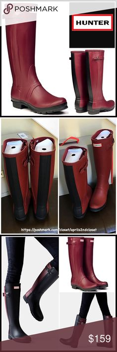 """HUNTER ORIGINAL RAIN BOOTS Waterproof Boots 💟NEW WITH TAGS💟 RETAIL PRICE: $195  HUNTER ORIGINAL RAIN BOOTS Waterproof Tall Boots  * Buckle button ankle strap detail  * Removable padded insole  * Contrasting rubber sole w/1"""" heel & 1/2"""" platform   * Pull on style  * Approx 16"""" shaft & 15.5"""" opening w/rubber fold for a bit of extra room   * Hunter logo detail Color: Red black combo  Fabric: Waterproof rubber upper & sole, textile lining Item#HU9 🚫No Trades🚫 ✅ Offers Considered*✅ *Please…"""