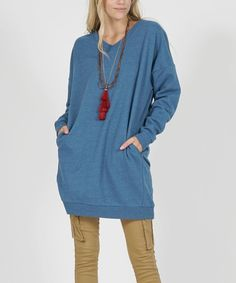 Take a look at this Blue Mist Long V-Neck Pullover - Plus today!