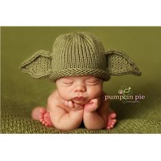 Are you a Star Wars geek? Is the Jedi force in your baby's future? Babies look a bit like Yoda anyway; this hat only accentuates those little bug-eyes.