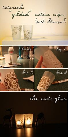CANDLES :: DIY Gilded Votive Cups Tutorial (w/ a Sharpie)